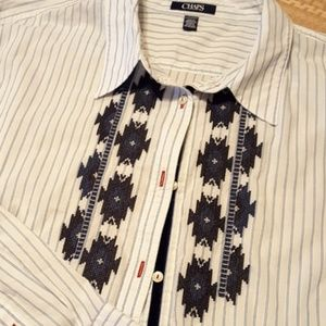 Chaps Button Down Embroidered Ladies Dress Shirt